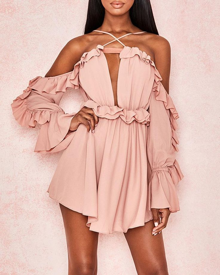 Summer Women Floral Print Cold Shoulder Ruffer Chiffon Beach Party Mini Dress Clubwear