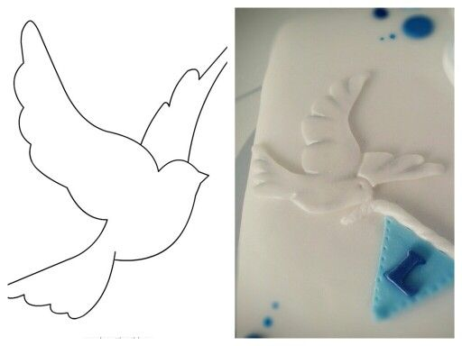 Easy fondant dove // print out the dove, cut it out and lay it on fondant to cut it with a scalpel. Acentuate the edges with a toothpick and add lightly silver dust.