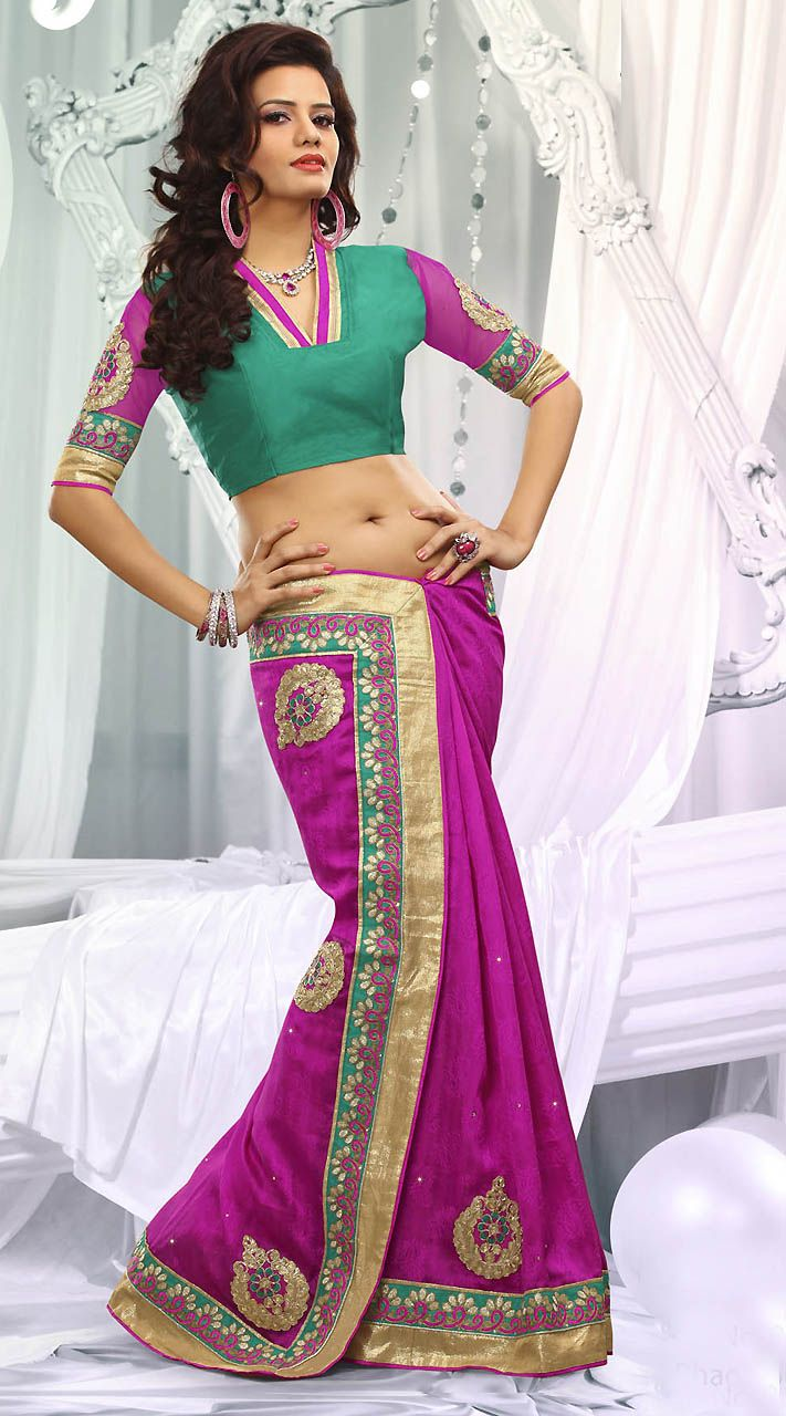 Purple Bhagalpuri Jacquard Silk Golden Border Bridesmaid Saree