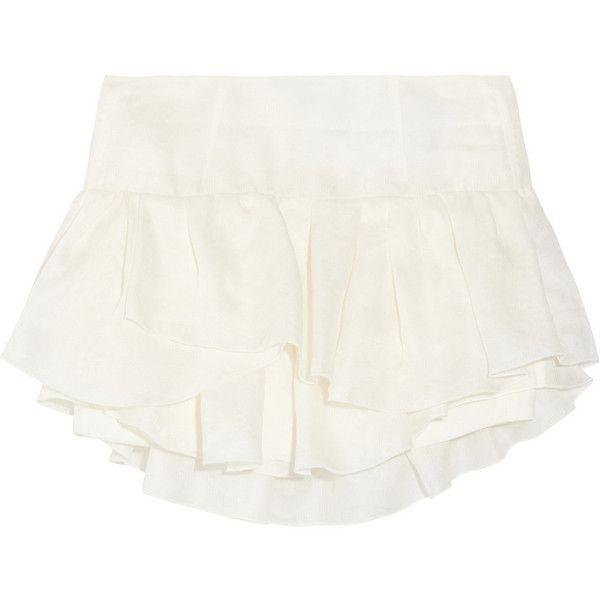 Isabel Marant Kyle ruffled silk-jacquard mini skirt ($222) ❤ liked on Polyvore featuring skirts, mini skirts, shorts, bottoms, isabel marant, white, silk skirt, white ruffle skirt, white flounce skirt and mini skirt