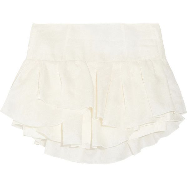 Isabel Marant Kyle ruffled silk-jacquard mini skirt ($222) ❤ liked on Polyvore featuring skirts, mini skirts, shorts, bottoms, isabel marant, white, silk skirt, white ruffle skirt, white flounce skirt and mini skirt