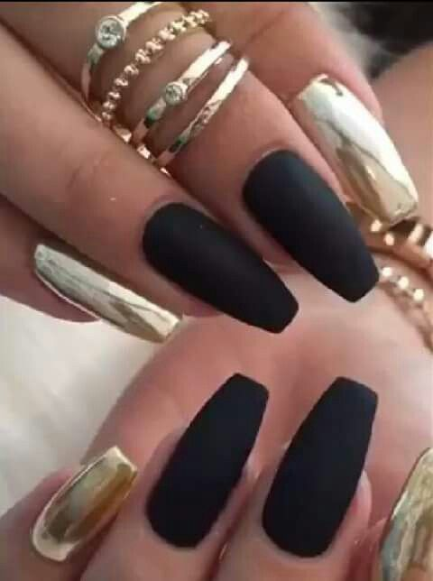 Matte And Chrome Metallic Nails Design Gold Nail Designs
