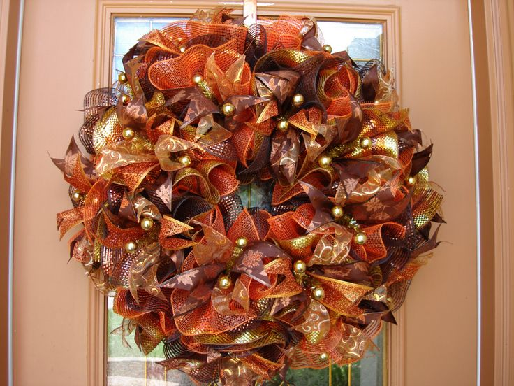 Gold Deco Mesh Wreath Thanksgiving Bounty Fall Door