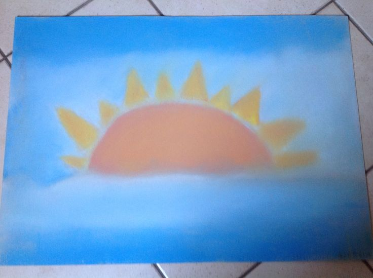 Il quadro fatto da mia figlia di 9 anni con la tecnica dei madonnari (2012)