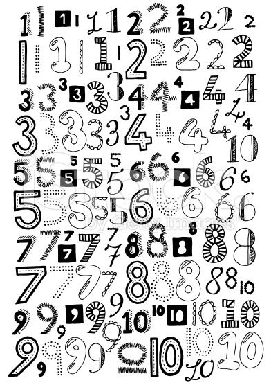 Hand drawn doodle numbers, black and white vector illustrations.
