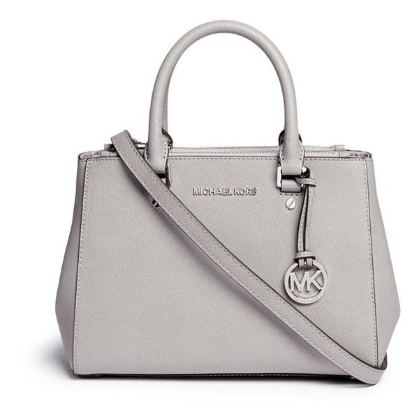 Michael Kors 'Sutton' small saffiano leather satchel ($425) ❤ liked on Polyvore featuring bags, handbags, grey, saffiano leather handbag, structured handbag, gray satchel handbag, gray handbags and gray purse