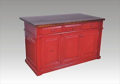 5ft Distressed Red Kitchen Island solid wood Butcher Block Top,Trash/Roll out Kitchen Islands ...