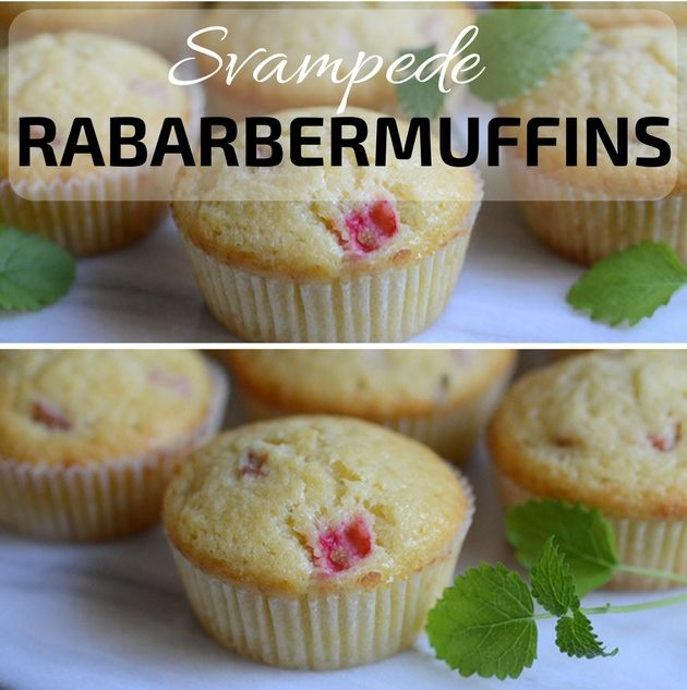 Utroligt svampede og lækre rabarbermuffins, der er super simple at bikse sammen.