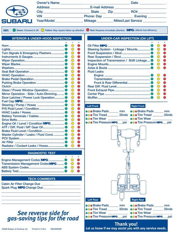 Vehicle Maintenance Inspection Form http//www.lonewolf