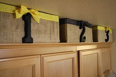 burlap boxes for above cabinets used to store plastic cups, forks, etc: Kitchens, Ideas, Craft, Cardboard Boxes, Kitchen Storage, Burlap Bins, Diy, Kitchen Cabinets