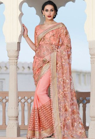 Peach Georgette, Net Designer Saree With Embroidery Work..@ fashionsbyindia.com #designs #indian #fashion #womens #style #cloths #fashion #stylish #casual #fashionsbyindia #punjabi #suits #wedding #saree #chic #elegance #beauty #outfits