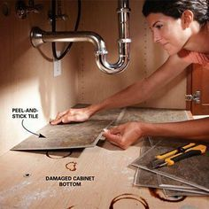 Best DIY Projects: Use peel and stick tile in the area under the kitchen sink.
