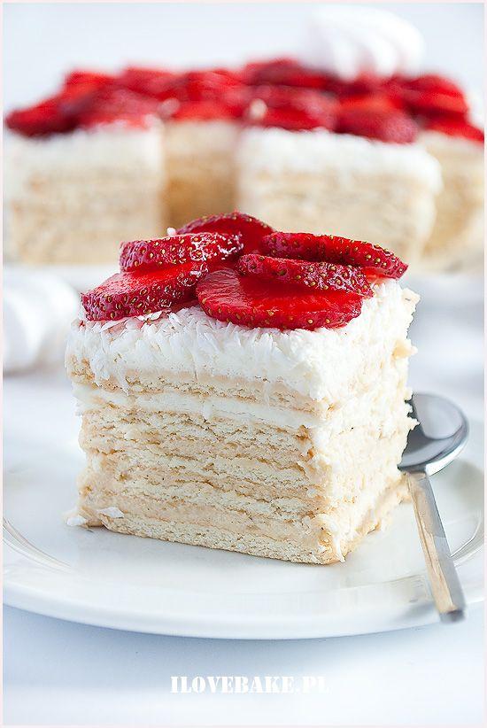 Ciasto rafaello bez pieczenia (z truskawkami) #coconut #rafaello #strawberry