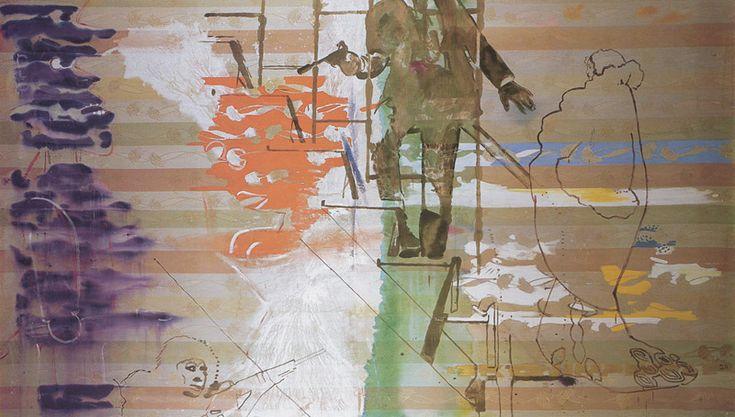 Sigmar PolkeTreppenhaus 1982 Dispersion on fabric 200 x 450 cm