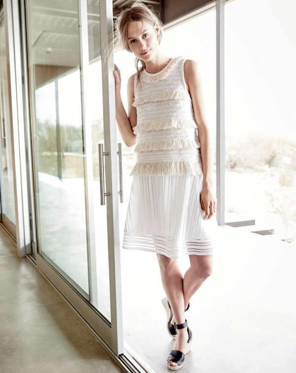 J.Crew women's Collection Japanese raffia tank and striped eyelet skirt in white.