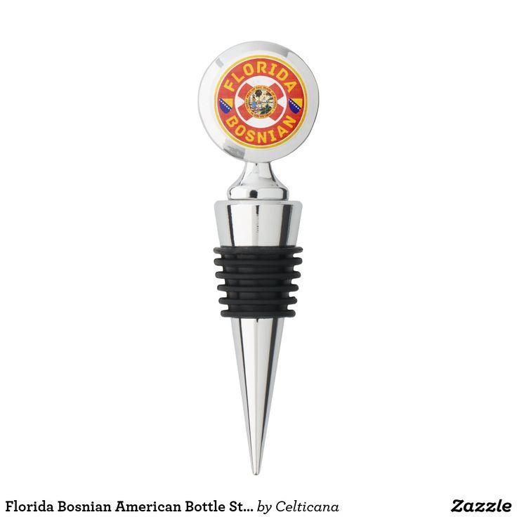 #Florida #Bosnian American Wine Bottle Stopper #Herzegovina #BosnianAmerican #AmericanBosnian #BosnianFlag