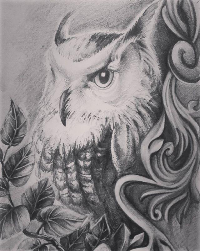 Czasem zdarza mi się popełnić realizm ;P #art #artwork #owl #owls #drawing #instagram #instapic #instaart #artist #gdansk #trojmiasto #instagallery #tattoodesign #leaves #like4like #work #desing #pencils #realism #realistic #instaowl