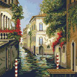 grafico  de punto de cruz en PDF para bordar paisaje en Venecia / cross stitch pattern in pdf with a Venice landscape