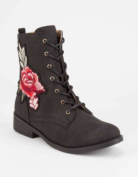 Qupid Embroidered Womens Combat Boots