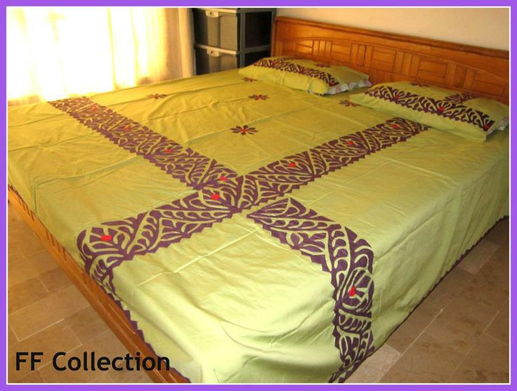 "Hand Made Applique Bed Sheet. Color guarantee. Fabric Pure Cotton. Size 108"" by 96"" inches..279 cm by 249 cm. 5 piece bed sheet. 1 sheet, 2 pillow, 2 cushion. Gently wash. imported.  Price 85 US $."