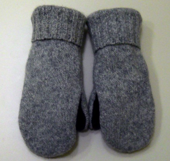 Ragwool and Wine wool mittens: fleece lined mittens made from recycled sweaters