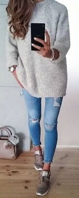 #Winter #Outfits / Gray Sweater + Casual Outfit