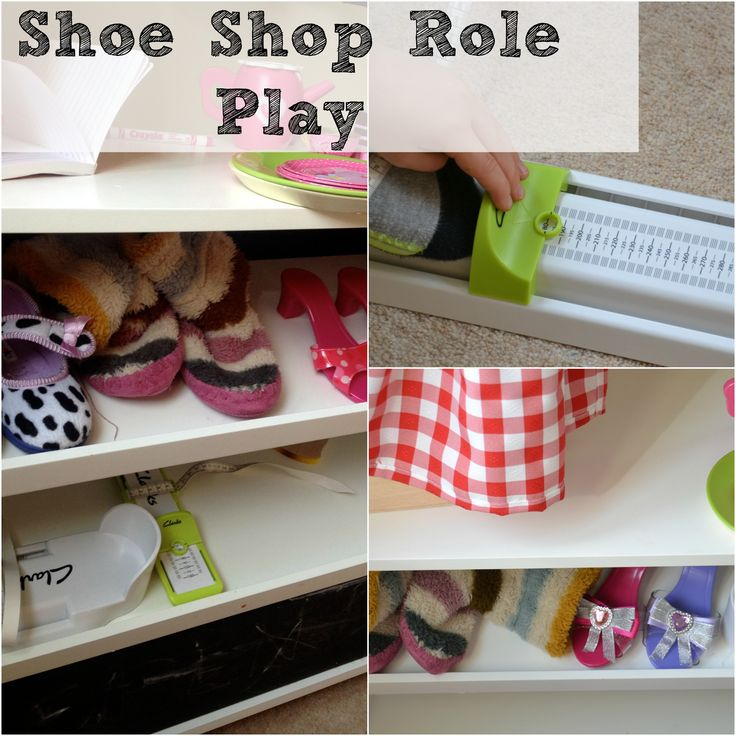 Fun shoe shop role play idea for kids. #RolePlay