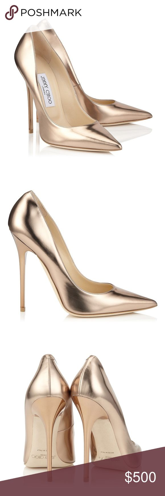 Jimmy Choo Anouk 120 nude mirror leather pumps Jimmy Choo Anouk pointy toe pumps in nude mirror leather. The color is like a rose gold. 120 mm heel. Comes with box and dust bag. Worn a couple times, excellent condition. Jimmy Choo Shoes Heels #jimmychooheelsgold