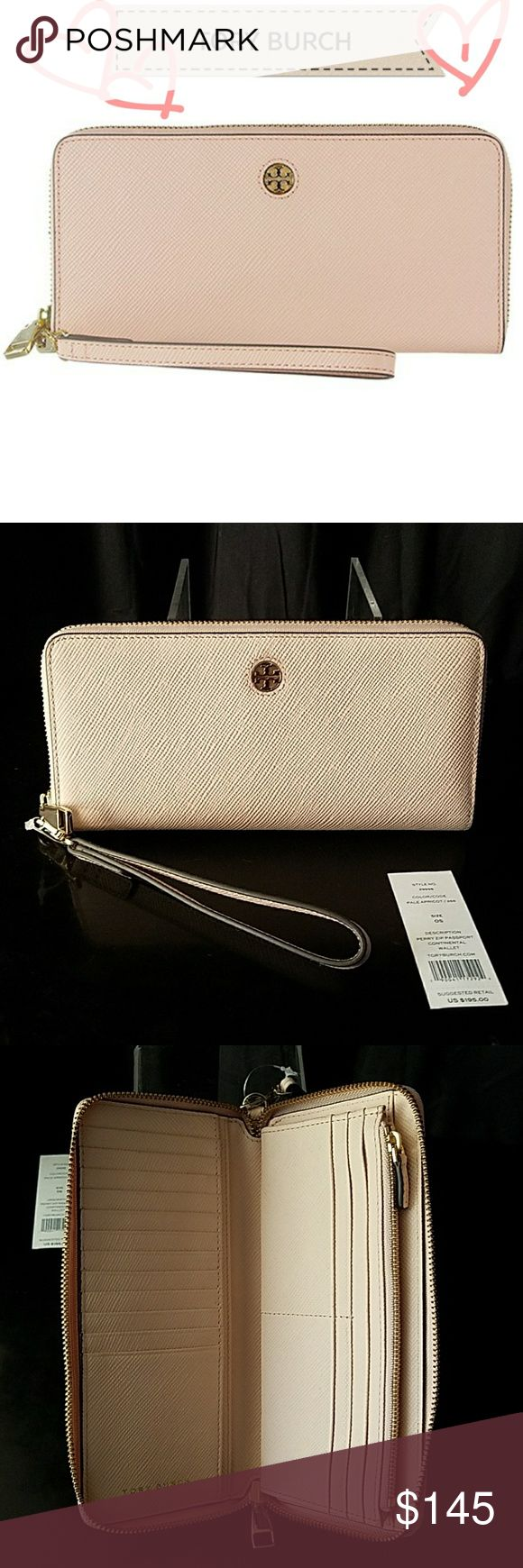 NWT Tory Burch Perry Zip Continental Wallet Brand new with tag, never used, perfect condition.  Tory Burch Perry Zip Passport Continental Wallet is designed to keep essentials organized. Made of leather, it opens flat for easy accessibility to belongings...  Style #29998 Color: Pale Apricot  Details: Leather Zip around Closure 16 credit card slots, 3 bill pockets, 1 large compartment, 1 interior zipper pocket Removable wristlet strap Gold Hardware Fits iPhone, Galaxy etc..  Msrp $195 Tory…