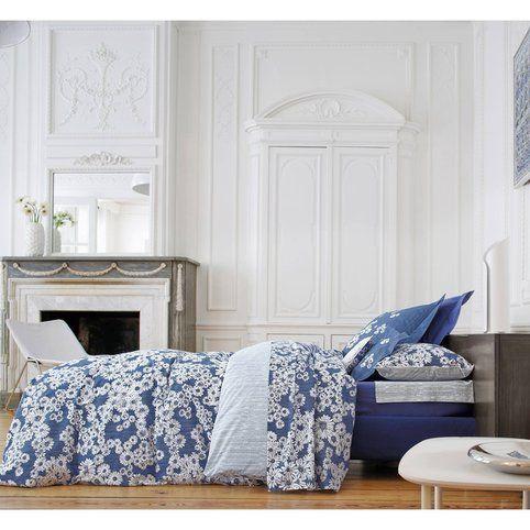 Drap percale de coton imprimé Dans les prés Bleu nuit Blanc des Vosges - Bleu- Vue 1