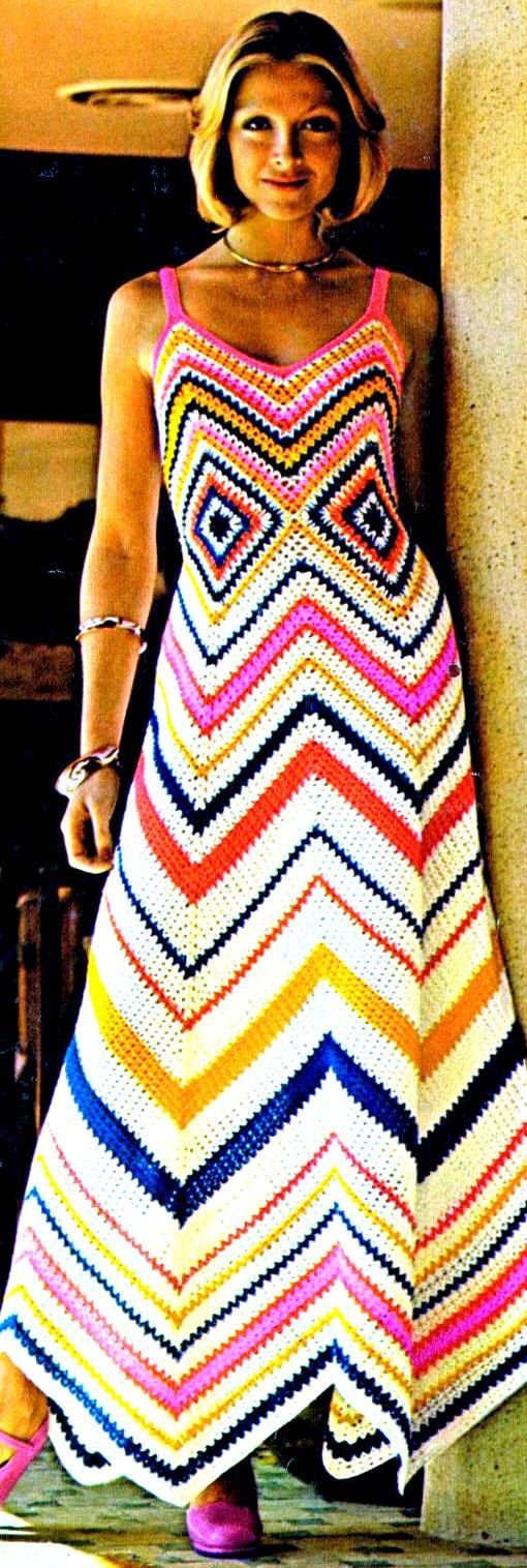 INSTANT DOWNLOAD PDF Vintage Crochet Pattern 1970s Chevron and Granny Square Maxi Sun Evening Dress Retro Plus Free Pattern