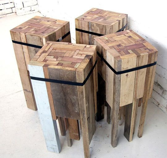 outdoor bar stools made out of wood-scraps... thinking a butcherblockesque table