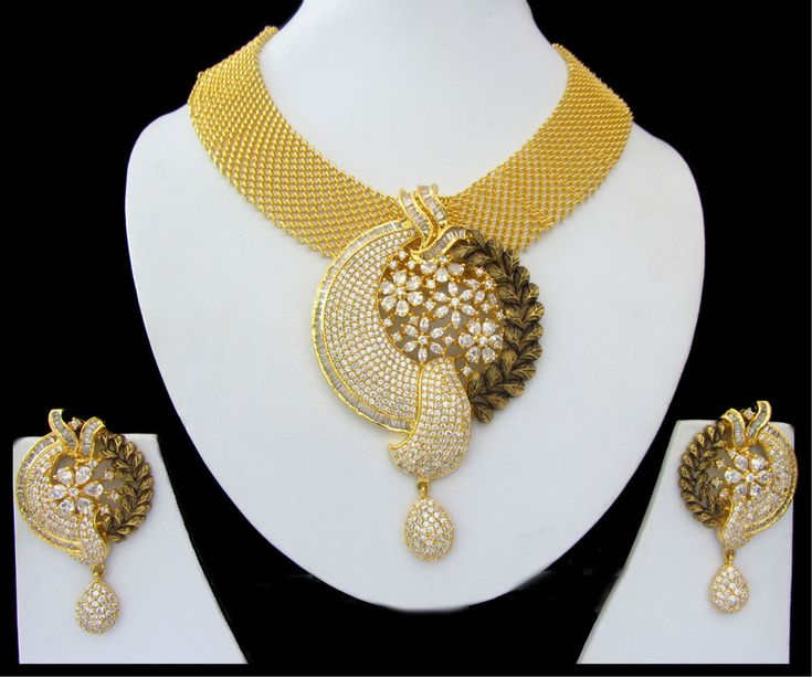 Indian Jewelry CZ AD Golden Bollywood Bridal Antique Finish Necklace Set Swam597 #Unbranded