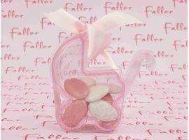Dragées Baptême - Poussette rose pvc avec dragées naissance fille