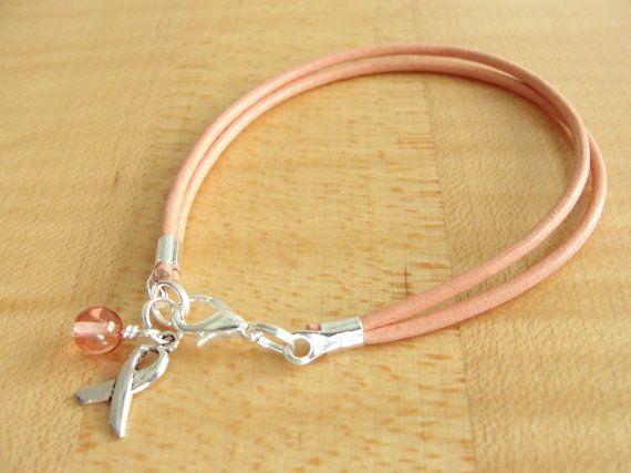 Peach Awareness Bracelet Leather Uterine Cancer by Twenty2Roses