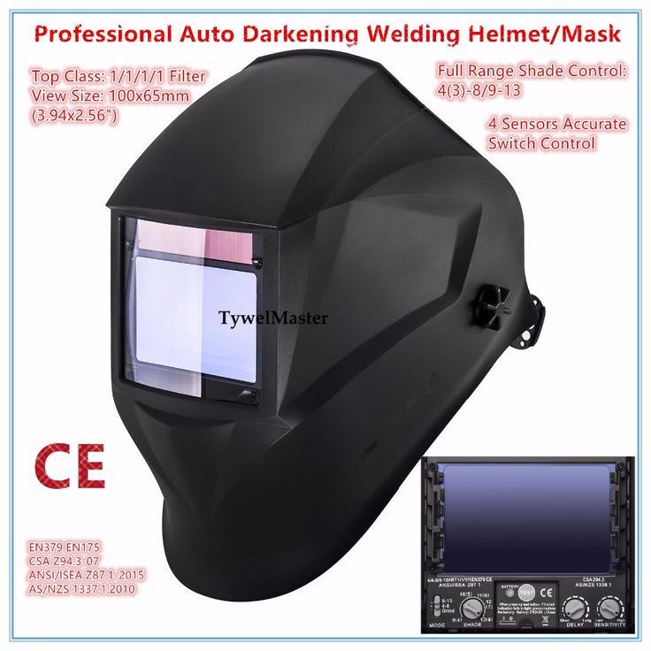 ==> [Free Shipping] Buy Best Welding Helmet Premium Mask 10065mm 1111 4 Sensors Filter Welder Hat Cap Solar Auto Darkening MIG TIG Grinding 3-13 CE UL CSA Online with LOWEST Price | 32723484159