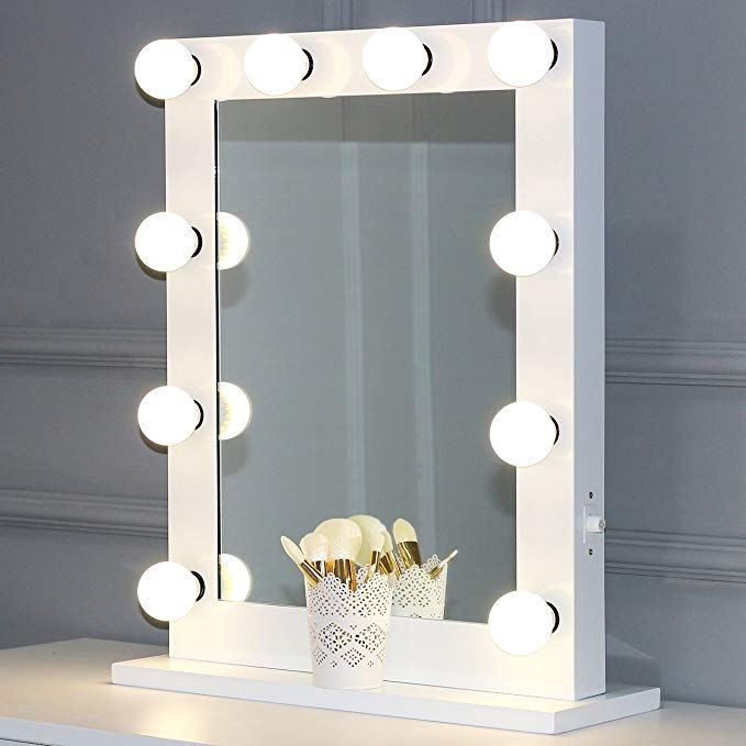Toyswill Tabletop Lighting Vanity Mirror Hollywood Style Makeup Mirror Wall Mounted Lighted Beauty Mirror 12 Led Dimmable Bulbs Unique Festival Gift White 6550 Diy Vanity Mirror With Lights Vanity Mirror Beauty Mirror