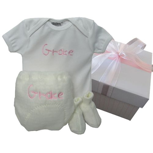 Personalised baby body suit and fluffy pants set.