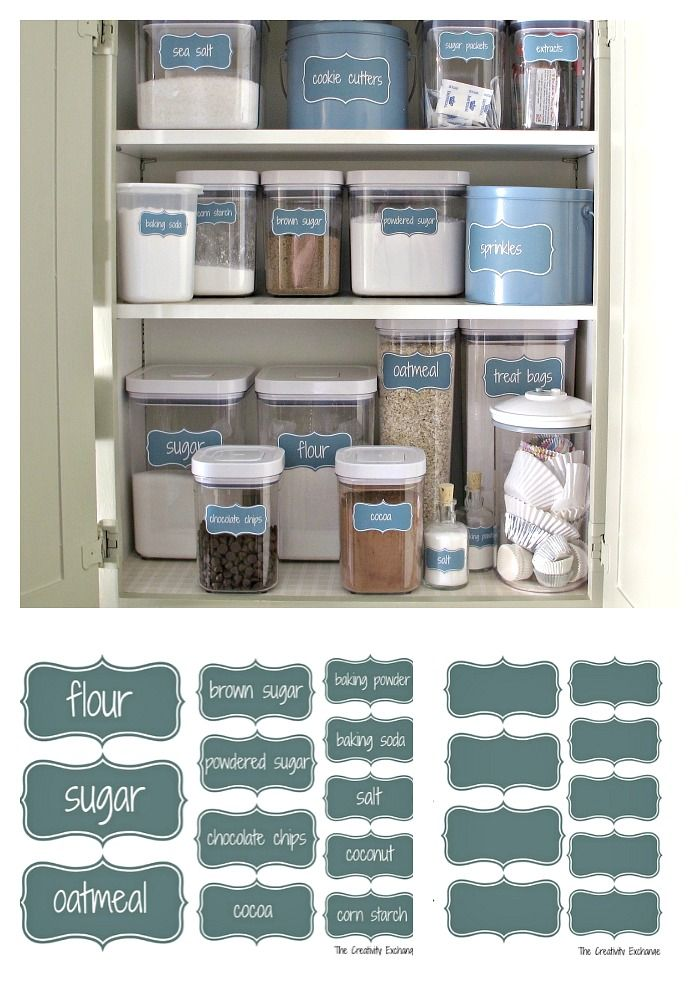 Free Printable Pantry Labels for Creating a Baking Cabinet or Labeling Anything.