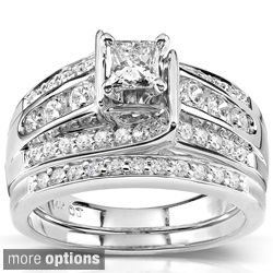 Annello 14k Gold 1ct TDW Princess-cut Diamond Bridal Ring Set (H-I, I1-I2) | Show your love with this gorgeous set, available in white gold or yellow gold
