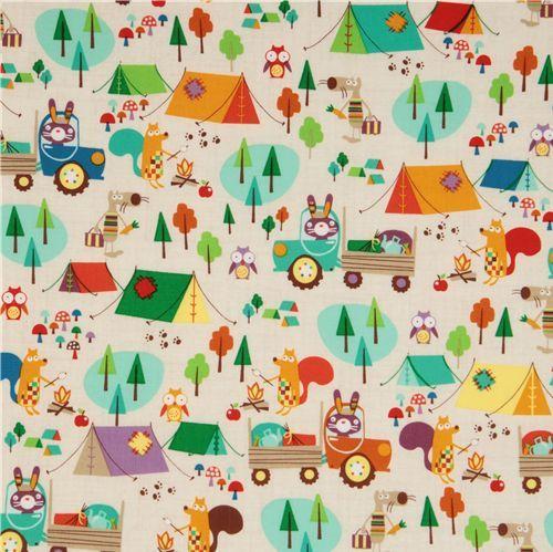 kampeerprint (leuk voor gordijntjes in een kampeerbusje!) (of voor een; kussensloop /lakenzak/tas/zitting van een stoeltje/plaid)