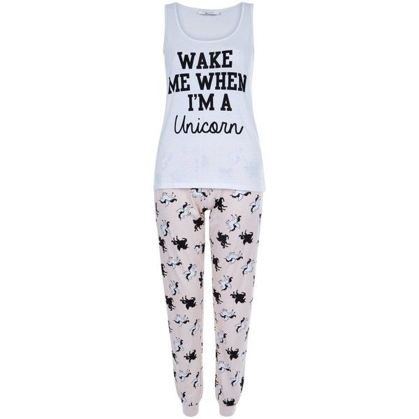 New Look Teens Pink Wake Me When I'm A Unicorn Print Pyjama Set ($19) ❤ liked on Polyvore featuring intimates, sleepwear, pajamas, pink pattern, pink pjs, pink pajamas, unicorn pajamas, pj tops and pink sleepwear