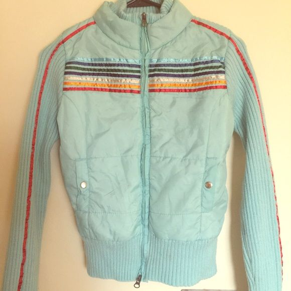 Rainbow bright jacket Love this jacket, I pair it with high top sneakers! The sleeves are a sweater material. Says Large but it fits like a small Jackets & Coats