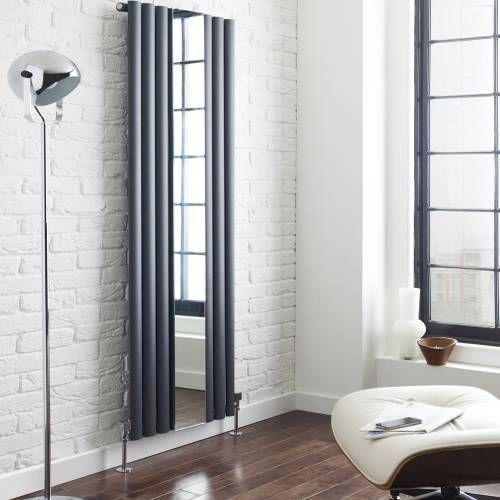 Design Heizkörper Vertikal Anthrazit mit Spiegel Lounge Heizkörper