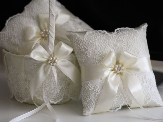 Ivory Lace Wedding Pillow Basket Accessories Set  by AlexEmotions