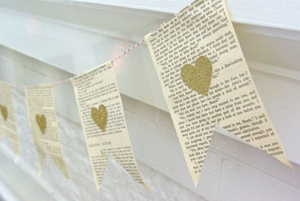 vintage book page bunting with gold hearts