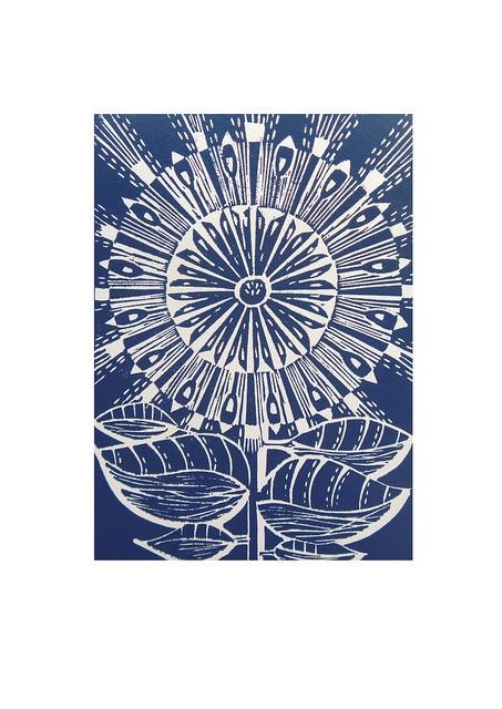 Blue Folk Sunburst Lino Print  by Mangle Prints, via Flickr