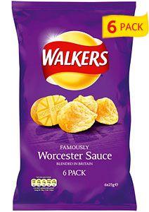 Walkers Worcester Sauce Crisps (6x25g)