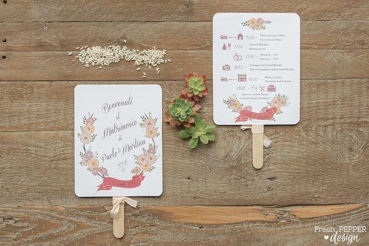 Ventaglio personalizzato com programma del giorno del matrimonio
