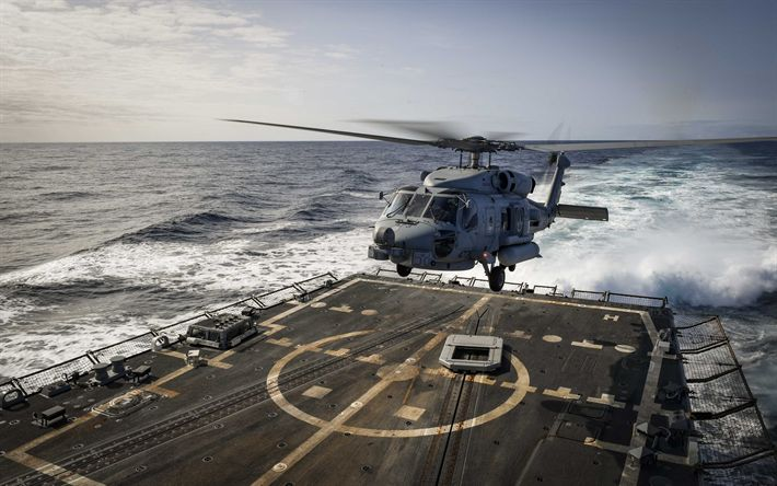 Lataa kuva Sikorsky SH-60 Seahawk, MH-60R, Sea Hawk helikopteri, Amerikkalainen monikäyttöinen helikopteri, sotilasilmailun, YHDYSVALTAIN Laivaston, laskeutuminen lentotukialus